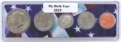 2015 - 5 Coin Birth Year Set in American Flag Holder Uncirculated