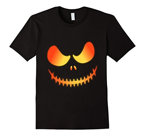Men's Jack O' Lantern Halloween Scary Pumkin Face Costume Shirt Large Black (Scary Halloween Pumkins)