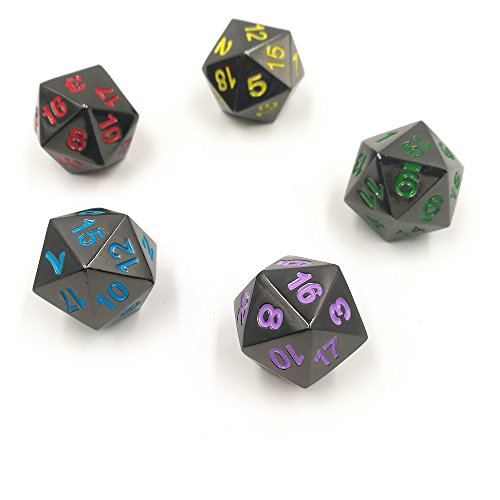 5 Pack of Heavy Solid Metal D20 Dice Polyhedral Twenty-Sided - Heavy Dice