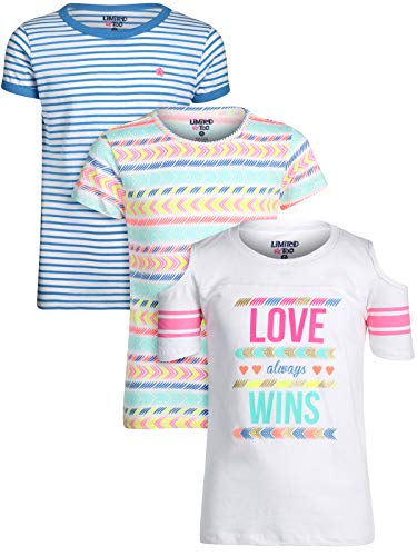 Limited Too Girls\' Short Sleeve Graphic Fashion T-Shirt (3 Pack), Love Wins, Size Medium / 10-12'