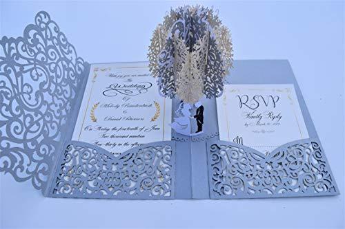 Pop up Wedding Invitation Pocket-Folds with Envelope. Unique and Elegant Laser Cut 3D Design by Tada Cards (Silver Vintage 10-Pack)