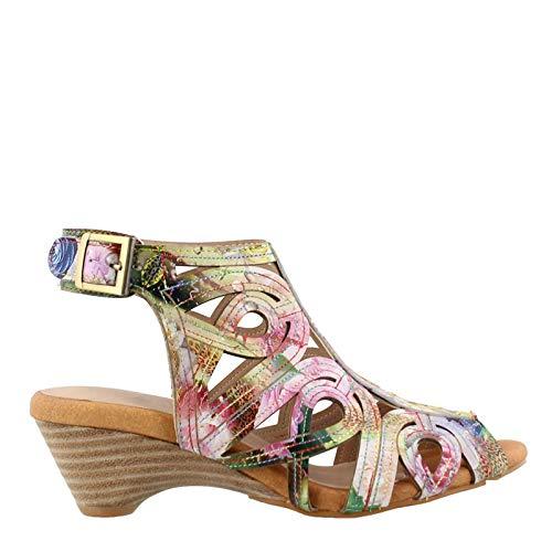 L'ARTISTE Women's Flourisha Leather Ankle Strap Sandal Purple Multi