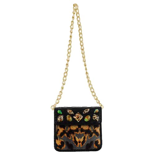 Christian Audigier Julie Chain Link Mini Handbag - Black (Christian Audigier Womens Leopard)