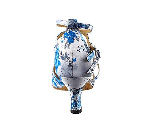 Bellissime Scarpe Da Ballo Da Donna Da Donna Ek1662led In Edizione Limitata Con 2,5 Tacco Fiore Bianco E Blu