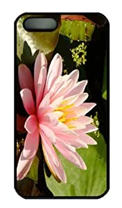 Case For Ipod Touch 5 Cover - Customized Unique Design Pink Water Lily New Fashion PC Black Hard