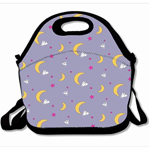Ahawoso Reusable Insulated Lunch Tote Bag Usagi Tsukino Sheet Duvet Sailor Moon Bunnies 10X11 Zippered Neoprene School Picnic Gourmet Lunchbox