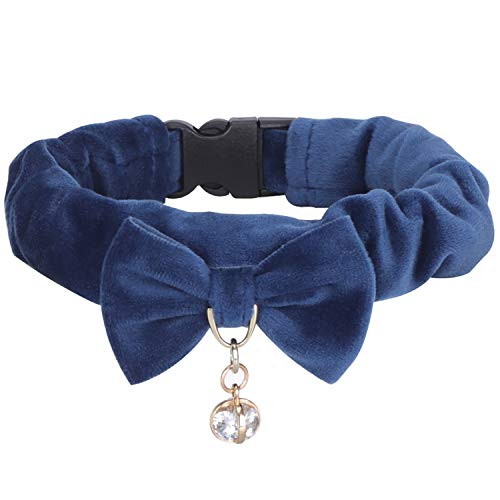 (PetsHome Dog Collar, Cat Collar, [Soft Velvet][Beautiful Bowtie] Collar with Pendant Adjustable Cute Bowknot Collars for Small Dog and Cat Small Blue)