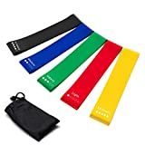 Resistance Bands Set of 5 Exercise Loops 9 inch Workout Bands for Home Fitness Yoga Physical Therapy with Carry Bag 10-50lbs Review