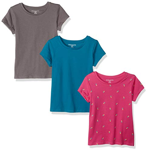 Amazon Essentials   Girls' 3-Pack Short-Sleeve Tee, Pink Pineapple/Teal/Grey XXL (14)