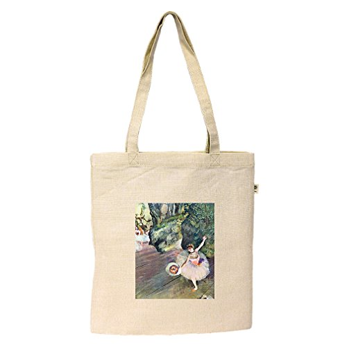 Dancer Bouquet Flowers Star Ballet (Degas) Hemp/Cotton Flat Market Bag Tote (Bag Ballet Degas)