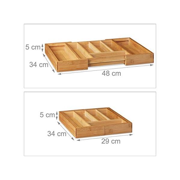 41X8UhNwPsL Relaxdays Besteckkasten Bambus, ausziehbarer Besteckeinsatz als Küchenorganizer, Schubladeneinsatz 33,5x29-48x5 cm…