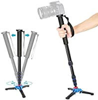 Neewer Extendable Camera Carbon Fiber Monopod with Removable Foldable Tripod Support Base: 5-Section Leg, Max. 66 inches...