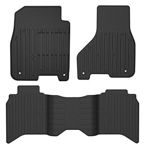 oEdRo Floor Mats Compatible for 2012-2018 Dodge Ram 1500/2500/3500, 2019 Dodge Ram 1500 Classic Models, Crew Cab Only, Black TPE All Weather Guard 1st and 2nd Row Floor Liners