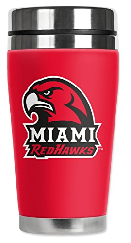 NCAA - Miami Ohio Redhawks - Mugzie® brand 16-Ounce Travel Mug with Insulated Wetsuit Cover