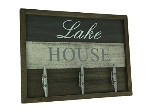Direct International Wood Decorative Wall Hooks Lake/River House Weathered Finish Boat Cleat Wall Hook 15.75 X 11.75 X 1 Inches Brown (Weathered Metal Sign)