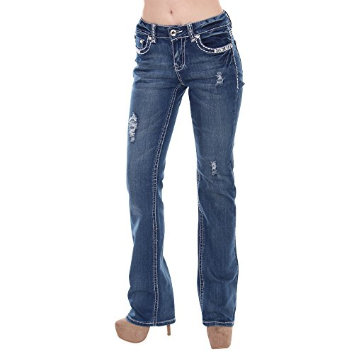 Pants Jeans Rhinestone (SEXY COUTURE Women's S96-PB Mid Rise Flare Bottoms Boot Cut Jeans,Denim,15)