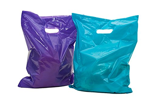 "100 Glossy Purple and Teal Plastic Merchandise Bags w/die cut handles 12x15"", large retail shopping bags perfect for small shops and stores, trade shows, garage sales & events"