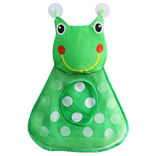 Price comparison product image Uarter Frog Mesh Bath Toy Organizer Dacron Net Bath Toys Storage Bag Holder with Strong Suction Cups, Green