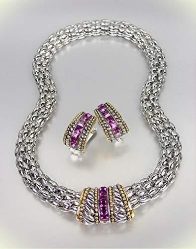Barrel Hoop Earring Set - Designer Style Silver Cable Purple Amethyst Cz Crystals Barrel Mesh Necklace Set For Women