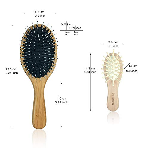 Bristle Hair Brush Set for Wet Dry Thick Thin Curly Fine Hair - Includes Wooden Travel Hair Brush - Adds Shine, Make Hair Smooth - Best Hair Brushes for Women Men Kids