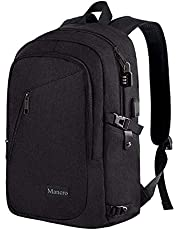 Anti Theft Business Laptop Backpack USB Charging Port Fits 15.6 inch Laptop, Slim Travel College Bookbag MacBook Computer, School Computer Bag Women & Men Mancro (Black)