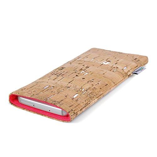 Stilbag Handyhülle VIGO für Apple iPhone 6s plus | Smartphone-Tasche Made in Germany | Kork natur mit Silber, Wollfilz lachs