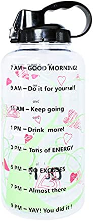 QuiFit Gallon Motivational Water Bottle - with Straw & Time Marker,BPA Free Reusable Large Leakproof Porta