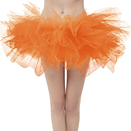 (Dresstore Women's Vintage 5 Layered Tulle Tutu Puffy Ballet Bubble Skirt Orange Regular)