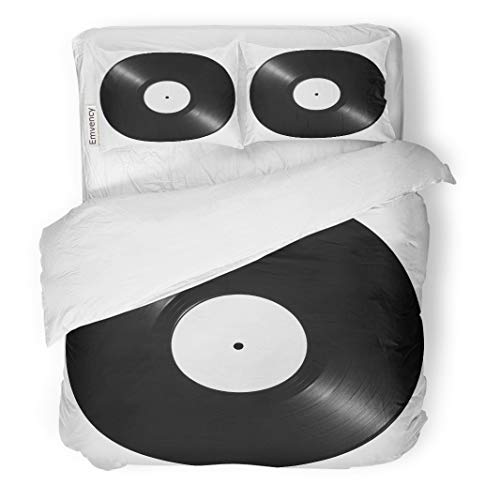Semtomn Decor Duvet Cover Set Twin Size Album Black Vinyl Record Label Disk White Equipment Turntable 3 Piece Brushed Microfiber Fabric Print Bedding Set Cover -