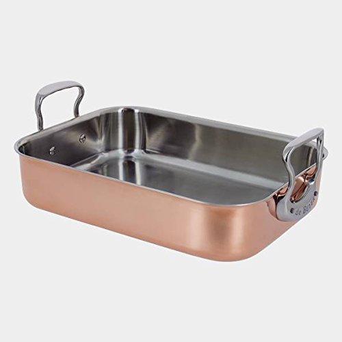 De Buyer Professional 35 x 25 cm Inocuivre Copper Roasting Pan with Cast Stainless Steel Handles 6427.35