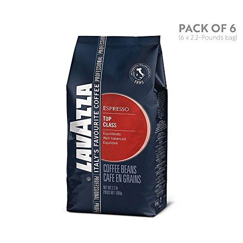 Lavazza Top Class Whole Bean Coffee Blend, Medium Espresso Roast, 2.2 Pound, 6 Count