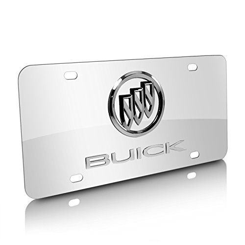 Buick Chrome Logo on Polished Steel License Plate (Buick Plate License)
