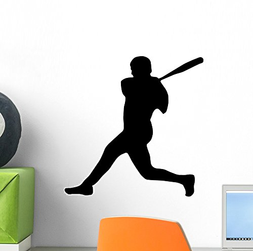 (Wallmonkeys WM148229 Baseball Silhouette Wall Decal Peel and Stick Graphic (12 in W x 8 in)