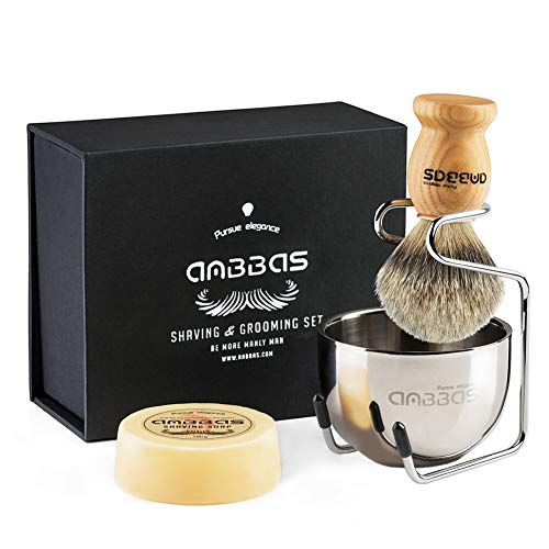- Shaving Brush Set, 4pcs Anbbas Pure Badger Hair Brush Solid Wood Handle with Goat Milk Shaving Soap 100g,Stainless Steel Shaving Stand and 2 Layers Shaving Bowl Kit Perfect for Men Gift