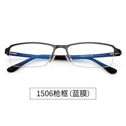 blue medio Color 1506 Marco espejo Gun Half ningún prueba de Blue hombres azul de gafas Business a frame plano KOMNY Computer espejo Frame azul grado anti film gafas radiación 7570 Film full gwz04