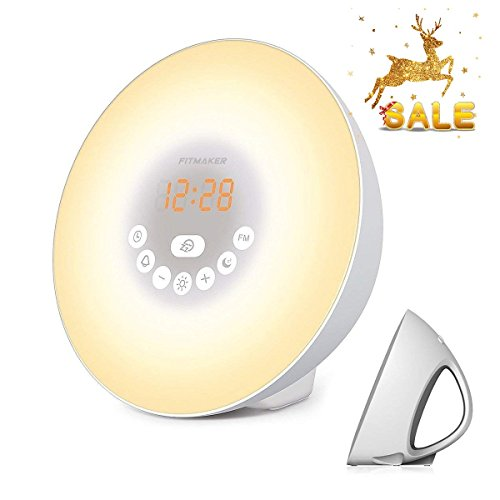 Sunrise Alarm Clock, Wake Up Light with 6 Nature Sounds, FM Radio, Color Light, Bedside Sunrise Simulator (White) (New)
