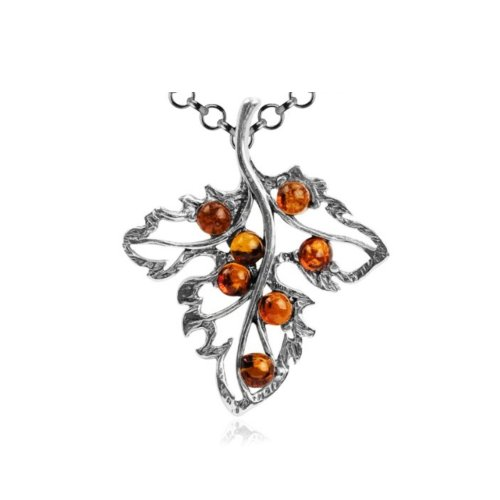 Honey Amber Sterling Silver Leaf Pendant Rolo Chain ()