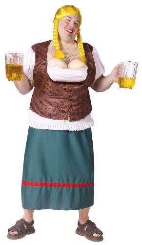 Fun World Womens Miss German-Breast Adult Costume Plus Brown - German Beer Maid Costume Plus Size