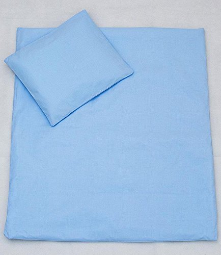 2 Pcs Crib/Cradle/Pram Bedding Set - 70x80cm Duvet Cover & Pillowcase - Plain Blue Baby Comfort