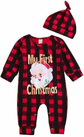 a858c0e49f90 Yajiemen Unisex Baby Christmas Outfits Clothes Romper Bodysuit Santa 2 Pcs  Jumpsuit+Hat