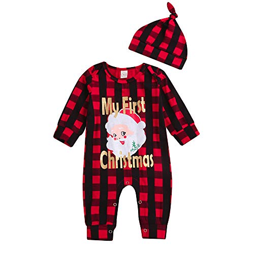 ❤️ Mealeaf ❤️ Toddler Outfit Christmas Newborn Baby Girl Boy Romper Plaid Santa Letter Print Jumpsuit Clothes Set 0-3t -