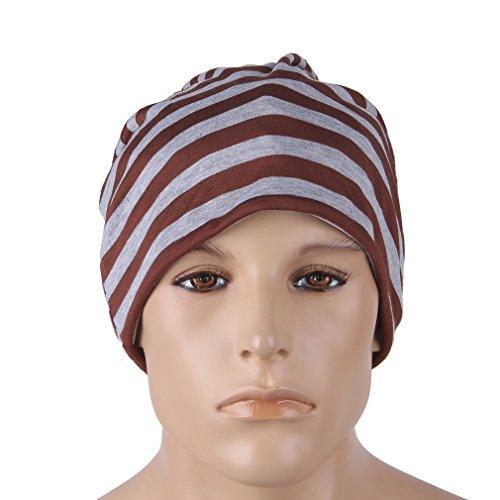 la Rayas Brown Slouchy cráneo 2 de sueño de tejida punto holgado Hombres gorrita COMVIP U5q7zz