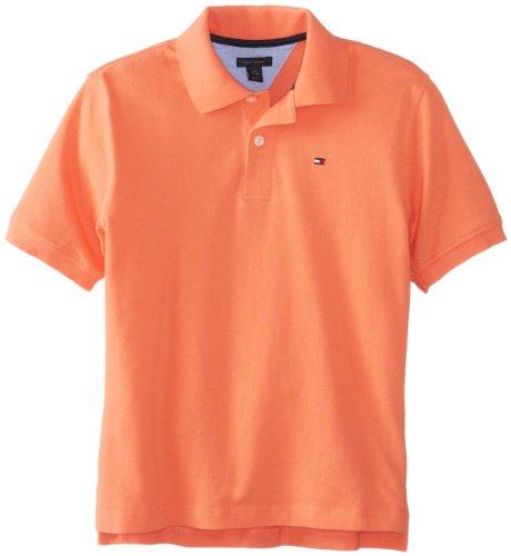 Tommy Hilfiger Big Boys' Short Sleeve Ivy Polo Shirt,Dusky Coral,X-Large(20)