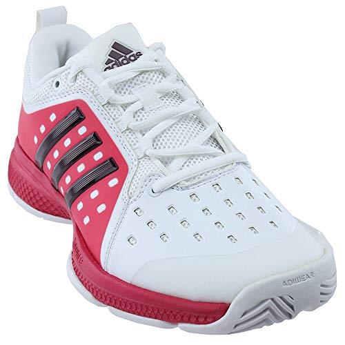 adidas Women s Barricade Classic Bounce Tennis Shoes White Dark  Burgundy Energy Pink (6 M US) 4ea7eba12