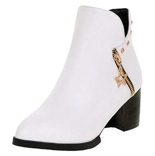AgooLar Women's Kitten-Heels Soft Material Low Top Solid Zipper Boots White ZjaPuxvyr6