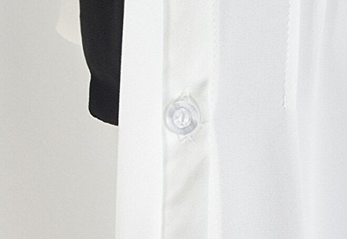 QIYUN.Z Collar De Peter Pan Blanco Nina De La Escuela Corbata Bowknot Camisas De La Gasa De Manga Larga Blanco