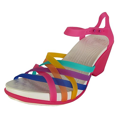 Crocs Womens Huarache Wedge Sandal Shoes, Multi/Candy Pink, US 8 (Heel Mini Platform Sandal)