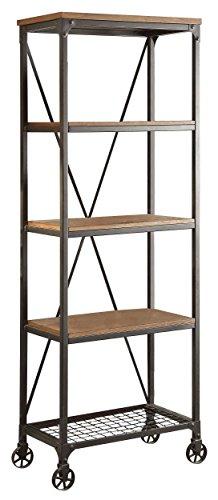 HOMELEGANCE Wood and Metal Bookshelf, 26 , Brown Black