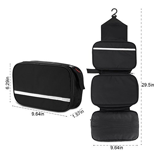 Casmas Travel Toiletry Bag Travel Accessories Bag Cosmetic Organizers with Hanging Hook Use in Bathroom or Hotel (Black) by Casmas (Image #3)