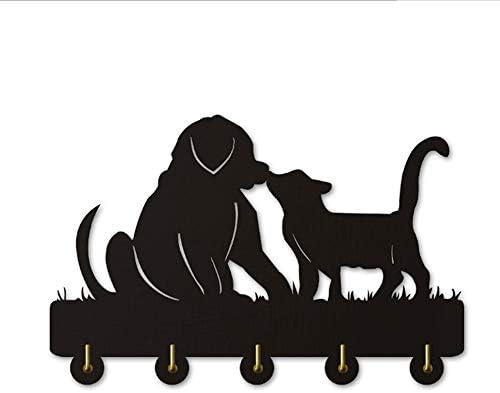 コートフック 猫と犬のシルエットの木製フック壁のドアの設置服コート帽子キーフック/コートラック/壁用フック現代の家の装飾壁ステッカーキッチン浴室のタオルフック、ブラック(ロング:30センチメートル)